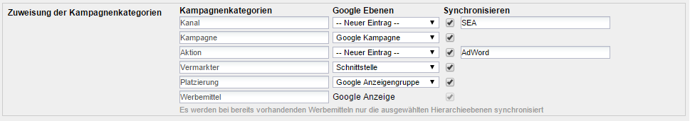 Konfiguration Google AdWords Schnittstelle in Webtrekk