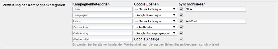 Konfiguration Google AdWords Schnittstelle in Webtrekk